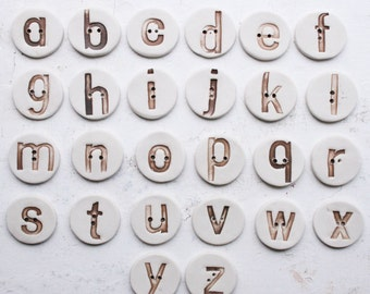 Alphabet button  (1) - handmade ceramic letter button