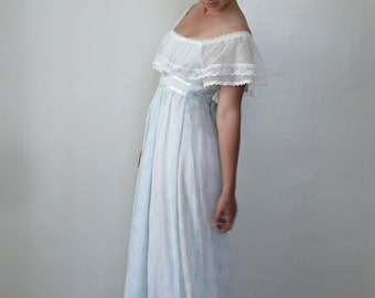 Vintage 1970s Maxi Dress, Gunne Sax Dress, Empire Waist Boho Baby Blue, 70s Off the Shoulder Dress