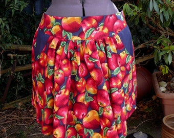 apple skirt. realistic apple print summer skirt with yoke and contrast pockets. one of a kind.