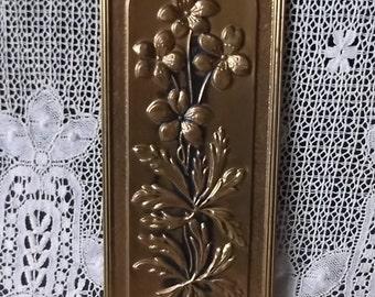 Vintage, art Nouveau style, Brass Violets wall plaque
