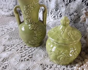 PAIR Apple Green Vintage bud vase and trinket box, ceramic