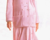 1980s Carol Horn Womens Mandarin Collar Unlined Jacket and Flounced Skirt Vogue Individualist Sewing Pattern 1906 Size 16 Bust 38 UnCut