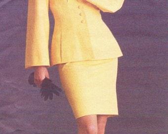 90s Carl Lagerfeld Womens Top or Jacket & Skirt Vogue Paris Original Sewing Pattern 1432 Size 10 Bust 32 1/2 UnCut Bell Sleeves