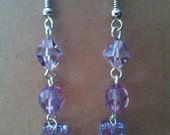 Violet and Light Amethyst Swarovski Earrings, lavender earrings
