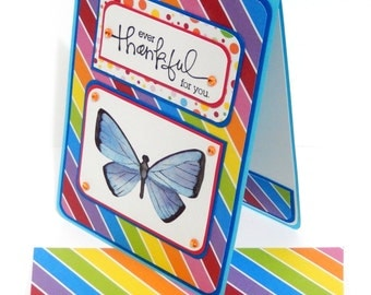 Thank You Card with Matching Embellished Envelope- Rainbow Butterfly