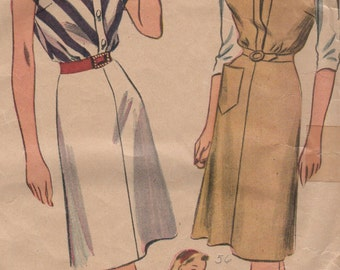 1944 Misses' Dress and Jumper Simplicity 4996 Size 14 Bust 32