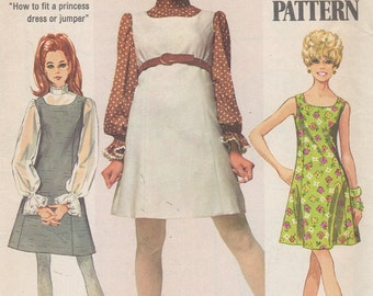 1968 Misses' Jumper or Dress and Blouse Simplicity 8008 Size 14 Bust 36