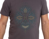 Mens T shirt Screen Printed Cotton tees Fractal Festival Wear Psy Clothing