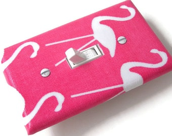 PINK FLAMINGOS Light Switch Cover Plate Switchplate Nursery Decor