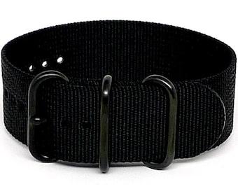 Ballistic Nylon NATO 1 Piece Watch Strap - Black (PVD Buckle)