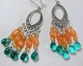 Teal drops on an Orange tree chandelier earrings  E484