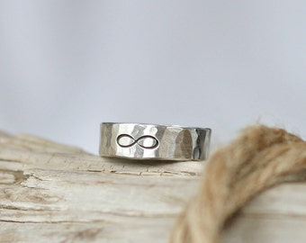 Infinity Ring Sterling Silver 925 Hammered Band