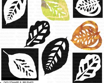Leaf Stencils and Masks - 8 Digital Stamps and Brushes - INSTANT DOWNLOAD - for Cards, Scrapbooking, Collage, Invites, Crafts, Journaling