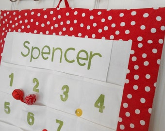 Personalized Christmas Advent Calendar in Red Polka Dot Fabric / Christmas Countdown Calendar with LARGE Pockets