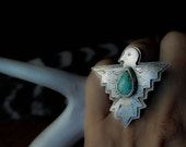 THUNDER WING, sterling silver ring, thunderbird ring, turquoise, statement ring, Native American inspired, metalsmith, hand made, weather
