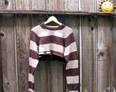 Unisex Cropped Sweater Eco Fashion Brown Ecru Knit Cotton Urban Chic