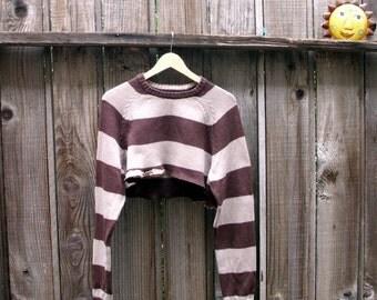 Unisex Cropped Sweater Eco Fashion Brown Ecru Knit Cotton Urban Chic