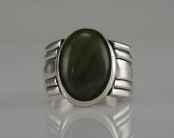 Sterling Silver Large Jade Ring- One of a kind