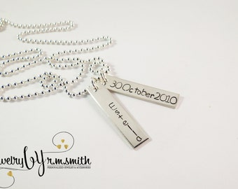 Personalized Mens Necklace - Kids Name - Guys Jewelry - Father - Boyfriend - Personalized Jewelry - Engrave Bar Necklace