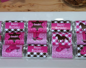 INSTANT DOWNLOAD diy Cowgirl  Birthday Party  PRINTABLE Mini Candy Bar Wrappers pink brown horse favors treats
