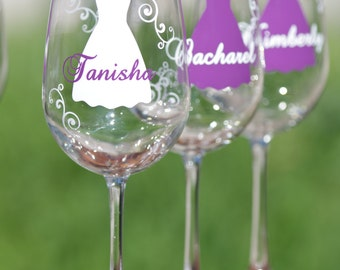 Bridesmaid gift idea wine glass, Includes name and title.  Plum dress on glass with white accents or your colors.  1 glass
