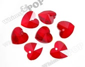 Red Heart Multi-Faceted Glass Crystal Beads, Glass Heart Beads, Glass Beads, Glass Heart Charms, 14mm (R7-072)