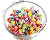 10mm Striped Beads, Mixed Colors Striped Resin Round Beads, 10mm Beads, Gumball Beads, Bubble Gum Beads, Mini Beads, Spacer Beads (R7-115)