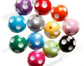 20mm - 100 Pack MIXED Colors Polkadot Gumball Beads, Wholesale Chunky Gumball Beads, 20mm Gumball Beads, Polka Dot Beads, 2mm Hole (R8-064)