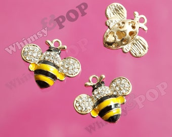 1 - Sweet Honey Bee Goldtone Crystal Rhinestone Charm, 21mm x 26mm (3-1C)