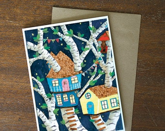 Greeting Card - blank card whimsical treehouse - by Paper Taxi