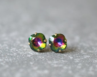Dark Rainbow Earrings Swarovski Crystal Rare Jewel Tone Rainbow Square Stud Earrings Rounded Square Mashugana