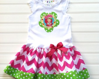 Custom Boutique Strawberry Birthday Dress Birthday Dress Strawberry Dress Chevron Dress Gir Dresses Available 3-6 months through Size 6/8