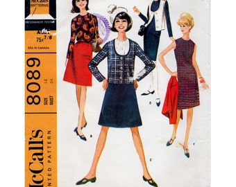 1960s Mod Dress, Skirt, Blouse and Jacket Pattern McCall's 8089 Vintage Sewing Pattern Bust 34 Complete Sixties Wardrobe Separates