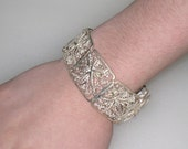 Art Deco STERLING Filigree Wide Panel Bracelet / Made In GERMANY / Stylized Maple Leaf / Floral / 33.3 Grams / Free US Shipping