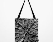 The X Tote Bag - Black and White Tree Rings - Nature Inspired Carry All Bag