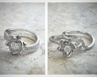 Flower Design Round Cut Diamond Engagement Ring and Matching Band Bridal Set 14k White Gold or Yellow Gold Natural Diamond Wedding Ring