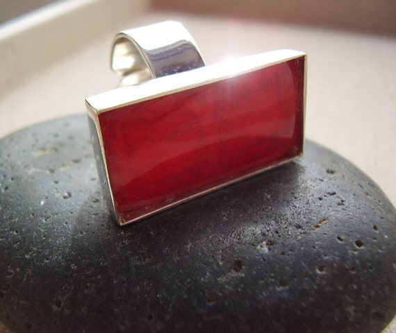 RESERVED - Classic Lipstick - Red Genuine Coral - OOAK Cocktail Ring