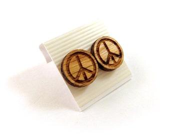Peace Sign Oak Wooden Post Earrings - Sustainable Wood Ear Studs