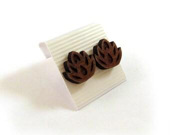 Lotus Flower Walnut Wooden Post Earrings - Sustainable Wood Ear Studs