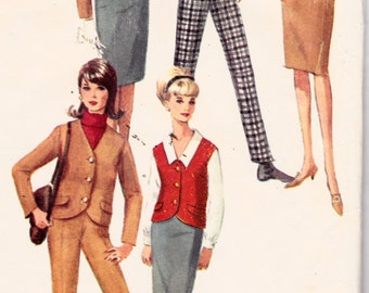 1960's Misses Blouse Jacket Vest Skirt or Pants Simplicity 6131 Vintage Sewing Pattern Bust 34""