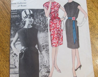 "1960s Mod DESIGNER Irene Galitzine Couturier Slim Sheath Dress - Size 14 (Bust 34"") - Rare VINTAGE Sewing Pattern Vogue 1095"