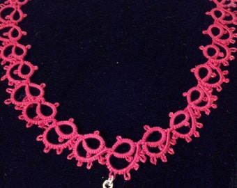 Victorian Hand Tatted Lace Bat Necklace
