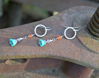 Turquoise Flower Earrings with Carnelian and Silver Accents