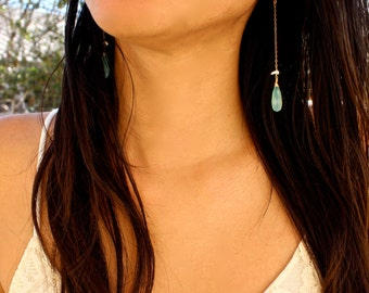 Island Paradise Earrings - Spring Green Chalcedony - 14k Gold Fill