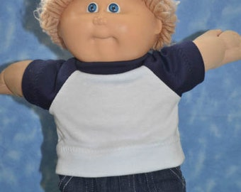 """Cabbage Patch Doll Clothes - for 16"""" - 18"""" Boy Dolls - Navy and White T-Shirt - Handmade"""
