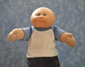 "Cabbage Patch Clothes - for 16"" - 18"" Boy Dolls - Light Blue and White T-Shirt - Handmade"