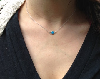 SALE! Tiny, petite, REAL Turquoise Gemstone Necklace/ Choker with Sterling Silver Chain. Your everyday layering piece!