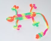 Squished Lizard Bookmark - Hand Crocheted Whimsical Bookmark - Day Glow