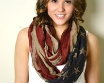 Super SALE 28.00 Boho American Flag Scarf, Infinity Loop Circle Scarf, Cotton Lightweight Patriotic, July 4th, Americana