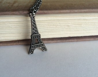 CLEARANCE SALE Eiffel Tower Necklace Paris Necklace France Necklace - made with an Eiffel Tower Button